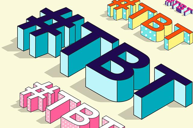 Arte com termo #tbt em várias fontes