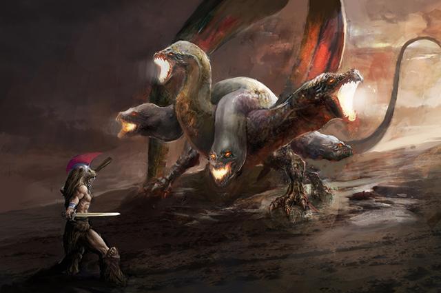 Hércules lutando com cobra de três cabeças