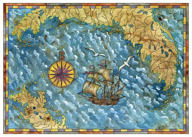 Mapa com rosa dos ventos