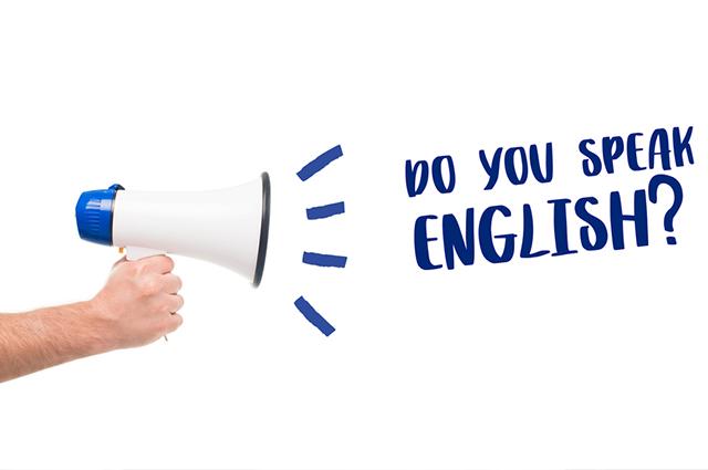 Alto falante com frase em inglês