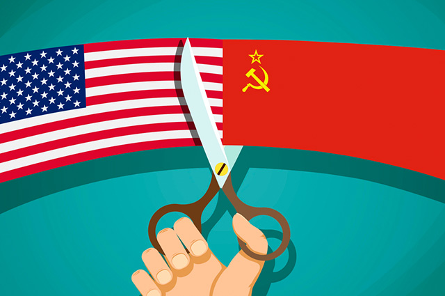 Bandeira do EUA e URSS