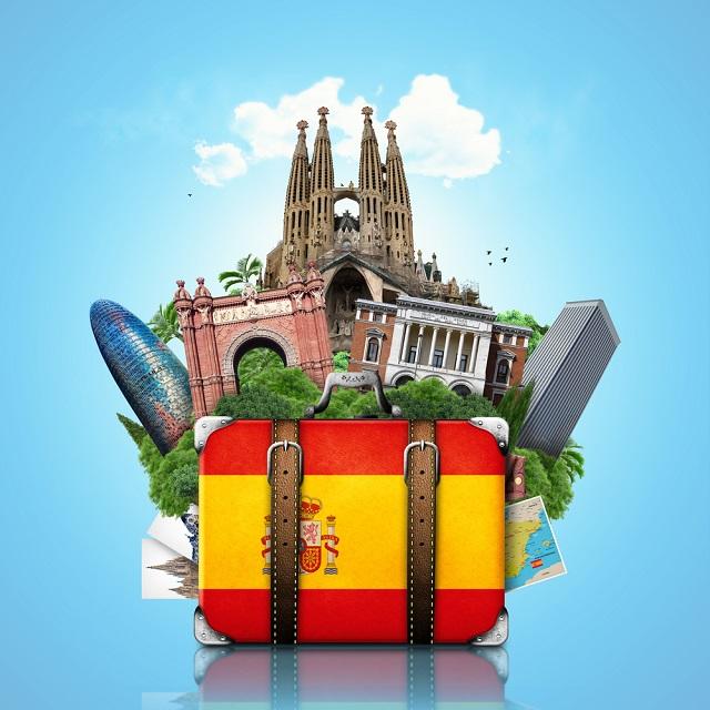 Mala com bagagem espanhola
