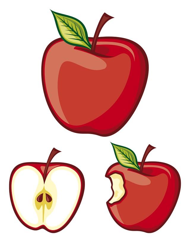 Três maçãs incompletas