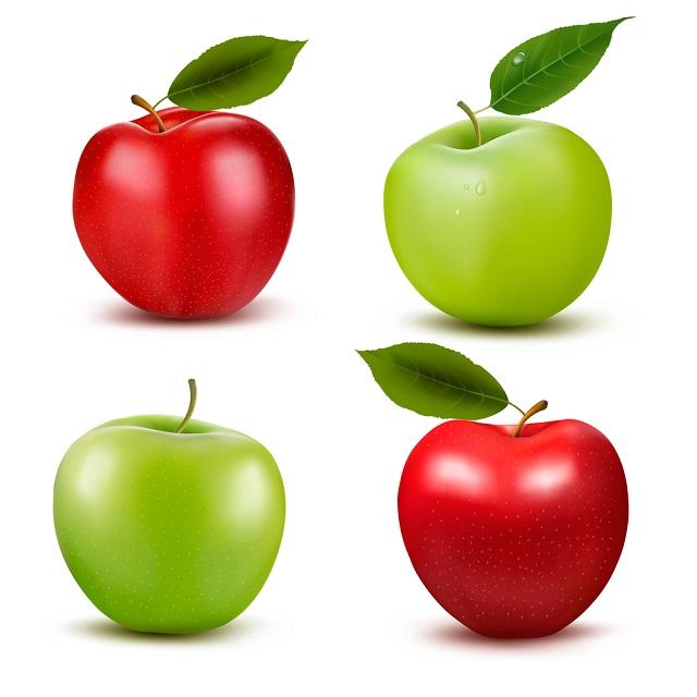 4 maçãs inteiras