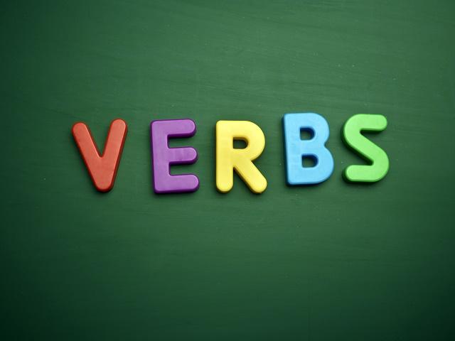 Palavra verbs colorida