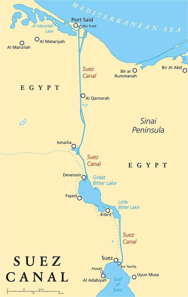 Mapa do Canal Suez