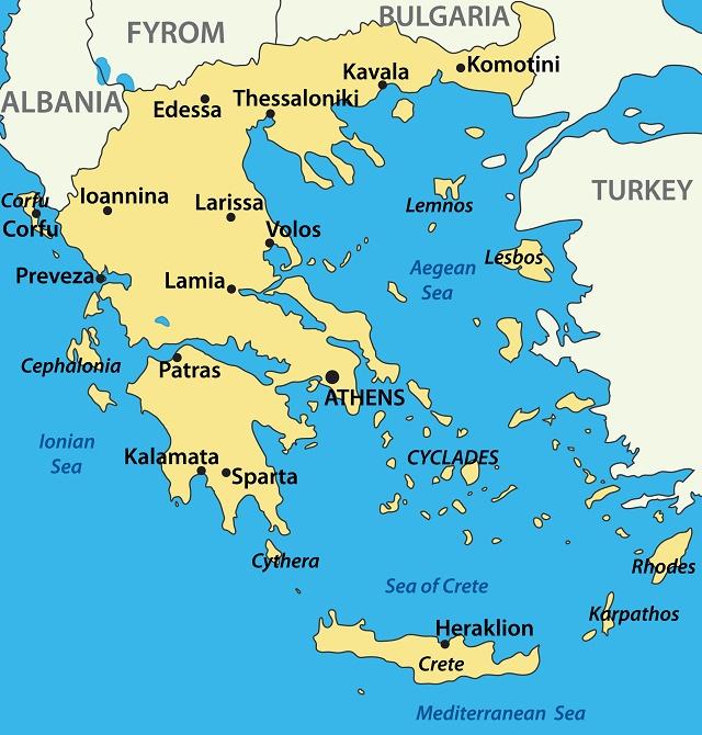 Mapa territorial da Grécia