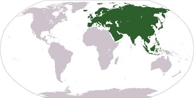 Eurásia destacada no Mapa Múndi