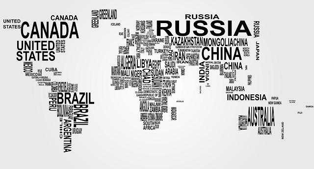Mapa-múndi com nome de países
