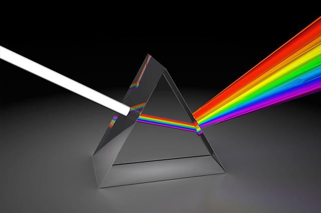 Prisma com refração de luz