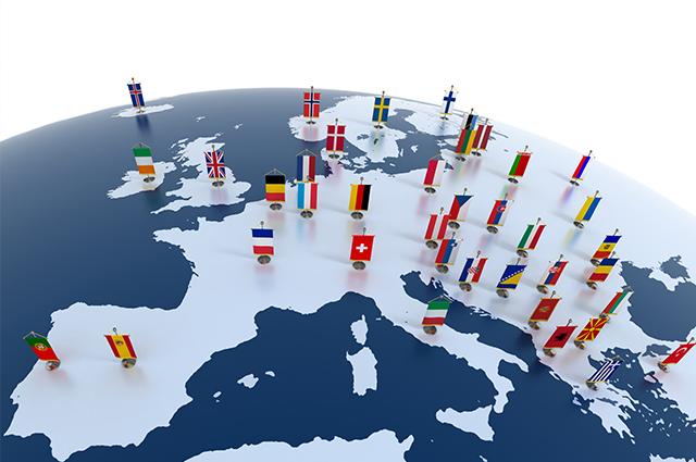 Mapa Europa com bandeiras