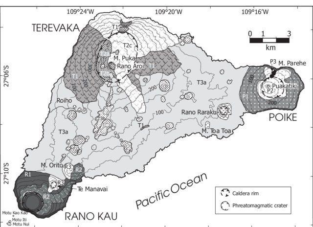 Mapa vulcões da Ilha de Páscoa